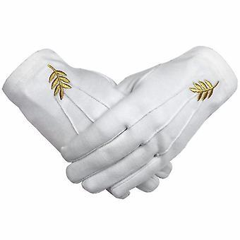 Máquina de hoja de acacia masónica bordado guantes de algodón blanco
