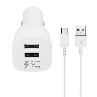 Samsung EP-LN920BW Car Charger - Dual USB + USB-C Cable (1.5m)