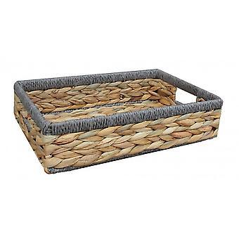Large Shallow Rectangular Water Hyacinth With Grey Rope Border Storage Basket