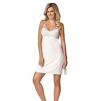 Nipplex Women's Simone Milk Off White Embroidered Night Gown Loungewear Nightdress