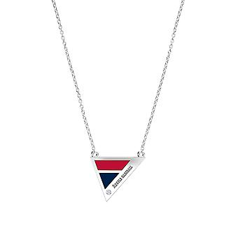 Los Angeles Angels Engraved Sterling Silver Diamond Geometric Necklace In Red & Blue