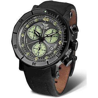 Vostok-Europe Men's Watch Lunokhod II Chronograph 6S30-6204212 Leather Strap