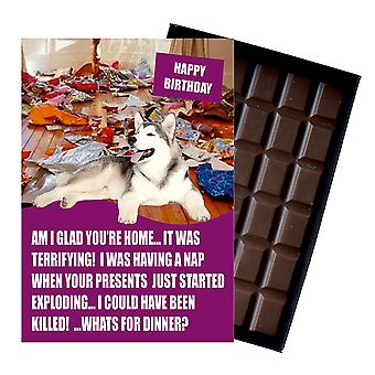 Alaskan Malamute Funny Birthday Gifts For Dog Lover Boxed Chocolate Greeting Card Present