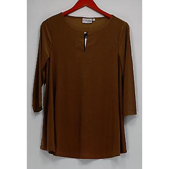 Attitudes by Renee Women's Top 3/4 Sleeve Keyhole Neck Brown A277517