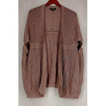 Nene Sweater M/L Crochet Open Front Cardigan Pink Womens 476-062