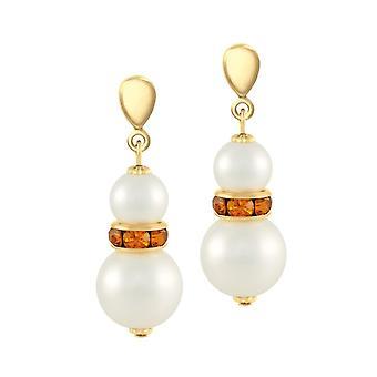 Eternal Collection Alpine Topaz Crystal Shell Pearl Gold Tone Drop Pierced Earrings