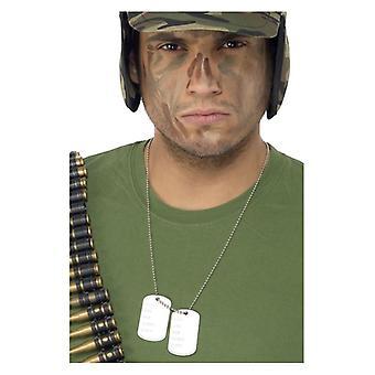 Volwassenen Dogtags op keten leger Fancy Dress accessoire