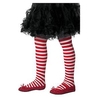 女の子赤・白ストライプ タイツ クリスマス エルフ デザインの凝った服アクセサリー