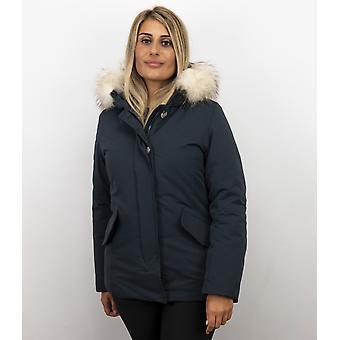 Blue Winter Coat - Fur Collar White - Winter Coats With Fur Collar