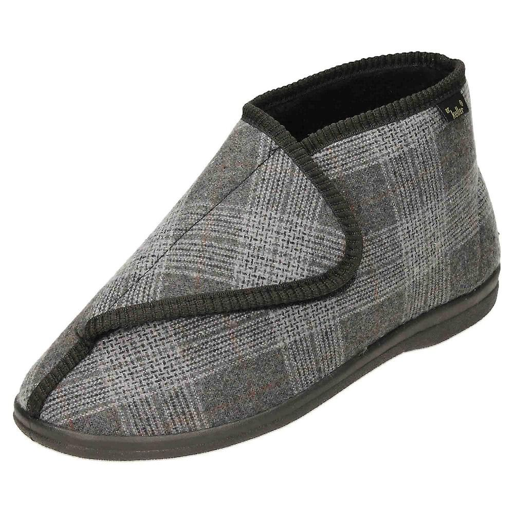 Dr Keller Black Slipper Boots Rip Tape Warm House Shoes