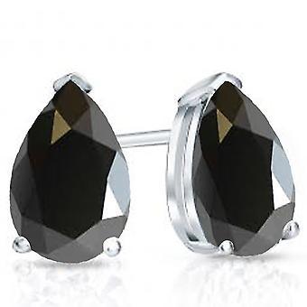 Dazzlingrock Collection 14K 7x5mm Each Pear Cut Black Sapphire Ladies Solitaire Stud Earrings, White Gold