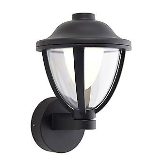 Saxby Lighting Larkin Integrated LED 1 Light Outdoor Wall Lantern Textured Black, Clear IP44 79204