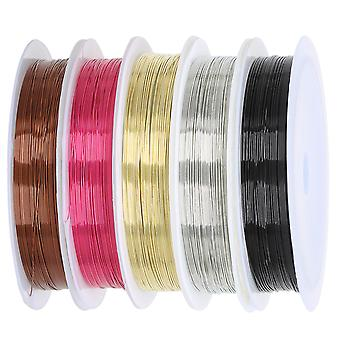TRIXES 5PC Jewellery Wire for Beading  0.4mm Spools Black Gold Bronze Silver Pink
