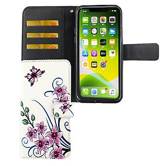 Apple iPhone 11 Pro Tasche Handy-Hülle Schutz-Cover Flip-Case mit Kartenfach Lotusblume