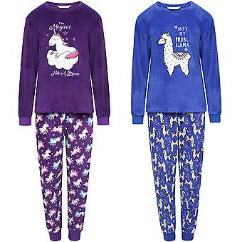 Selena meisje Kids fleece lange mouw super zachte nachtkleding top onder pyjama set