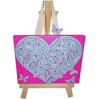 Heart Canvas - Hot Pink Grey by Wee Bee Gifts
