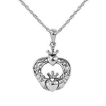"Celtic Interlaced Irish Claddagh Love Loyalty And Friendship Necklace Pendant - Includes A 16"" Silver Chain"