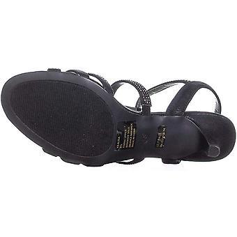 Karen Scott KS35 Alixa Rhinestone Strappy Sandals, Black, 9 US