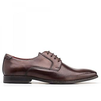 Base London Charles Mens Perforated Leather Derby Shoes Brown