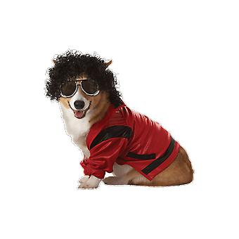 Pet Pop King Michael Jackson Popstar 80er Jahre Hund Fancy Kleid Kostüm