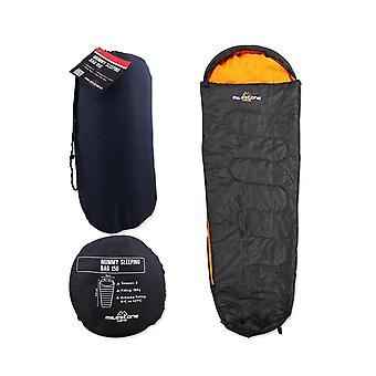 Milestone Camping Mummy Sleeping Bag - Dark Grey And Orange