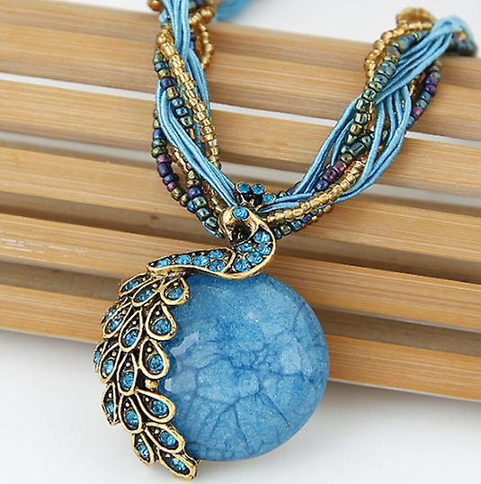 Beaded peacock necklace