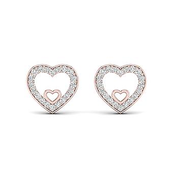 Igi certified 10k rose gold 0.12ct tdw diamond heart stud earrings