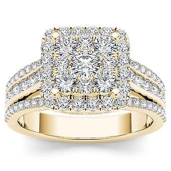 Igi certified 14k yellow gold 1.50 ct natural diamond halo engagement ring