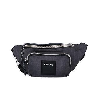 Replay Logo Charcoal Grey Cross Body Bag