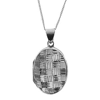 Die Olivia Collection Sterling Silber 25mm Cross-Hatched Design Oval Locket auf 18