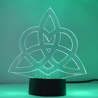 Triquetra Eternity Love Heart Knot Colour Changing LED Mini Acryllicht