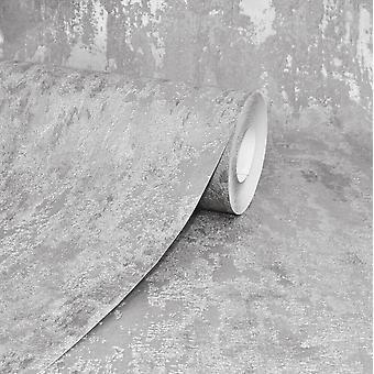 Havana Grey Distressed Industrial Metallic Wallpaper Paste Wall A.S Creation