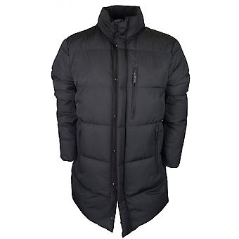 Emporio Armani Polyester Zip Up Funnel Neck Black Trench Jacket