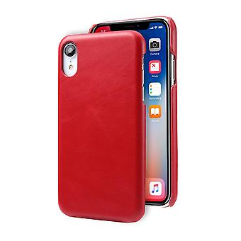 Pour iPhone XR Case Red Modern Genuine Leather Back Shell Cover