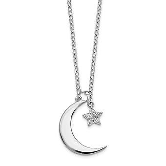 925 Sterling Silver Rhodium verguld CZ Cubic Zirconia Gesimuleerde Diamond Star en Hemelse Maan Met 2inch Ext. Ketting