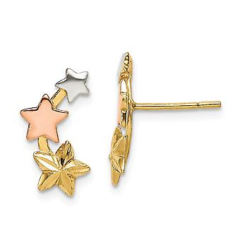 925 Sterling hopea ja flash keltainen ja rose 14k kullattu tähti korvakorut korut lahjat naisille