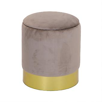 Charles Bentley Round Velvet Pouffe met Gold Base & Storage Lid Taupe-Ottoman Footstool Dressing Table Dia.31xH38cm