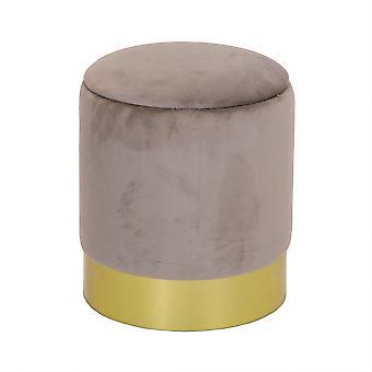 Charles Bentley Round Velvet Storage Dressing Tafel Kruk Footstool Pouffe / Ottomaanse met Gold Base Taupe