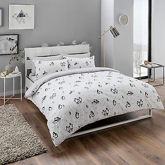 Conjunto de ropa de cama de lindos pinguinos
