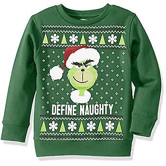 Universal Boys' Ugly Christmas Crew Sweatshirt, Naughty/Green, Large (12/14)