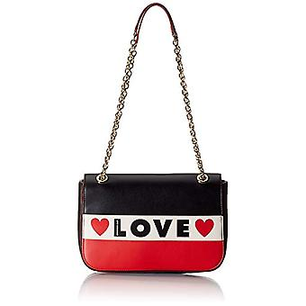 Love Moschino Bag Small Grain Pu Black Women's Strap (Black/White/Red) 19x28x6 cm (W x H x L)