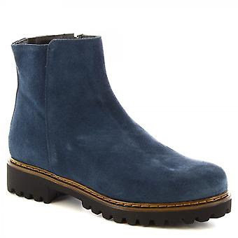 Leonardo Shoes Women's handmade ankle boots blue suede leather with side zip