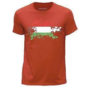 STUFF4 Men's Round Neck T-Shirt/Hungary/Hungarian Flag Splat/Orange