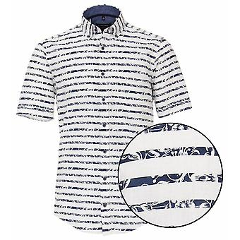 CASA MODA Casa Moda Flower Stripe Short Sleeve Shirt