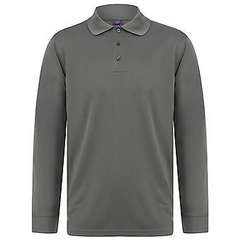 Henbury Erwachsene Unisex Langarm Coolplus Piqu Polo Shirt