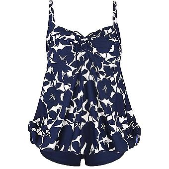 Plus Size Curvy Blue Floral Print Tie Back Cinch Fashion Swimsuit Tankini Set