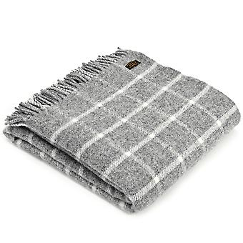 Tweedmill Pure New Wool Chequered Check Grey Throw
