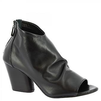 Leonardo Schuhe Frauen's handgemachte offene Zehen Absatz Stiefeletten in schwarzem Kalbsleder