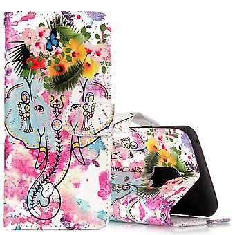 For Samsung Galaxy S9 Wallet Case Leather Flower Elephant Pattern
