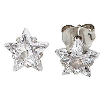 Серьги Звезды Звезды 925 стерлингового серебра Родиевое покрытие 2 Серьги из циркония